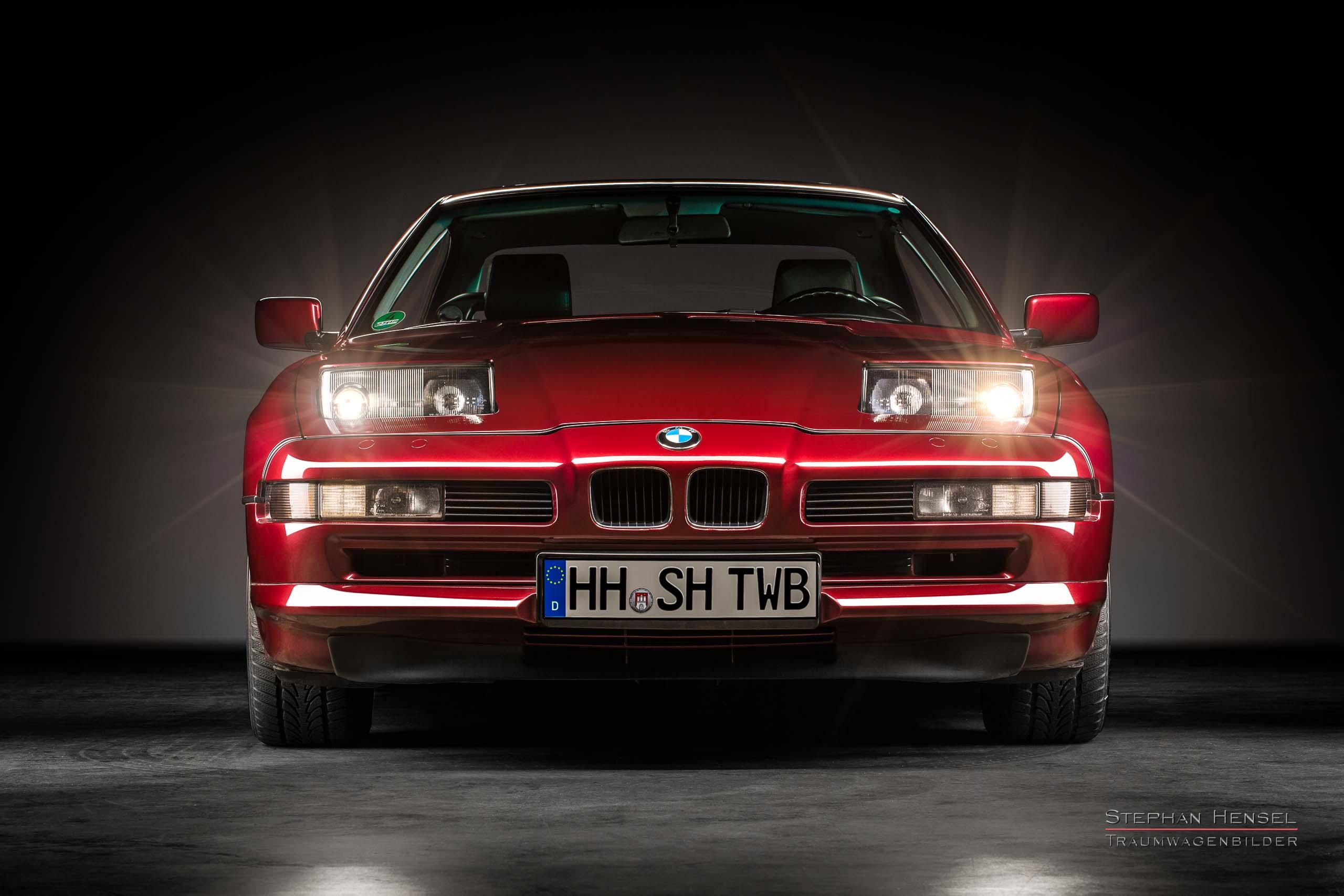 BMW 850i, 1991, Frontalansicht, Autofotograf, Hamburg, Automobilfotograf, Oldtimerfotograf, Oldtimerfotografie, Car Photography, Stephan Hensel