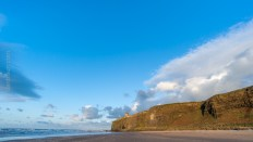 A wider view of the cliffs the Mussenden Temple rests upon