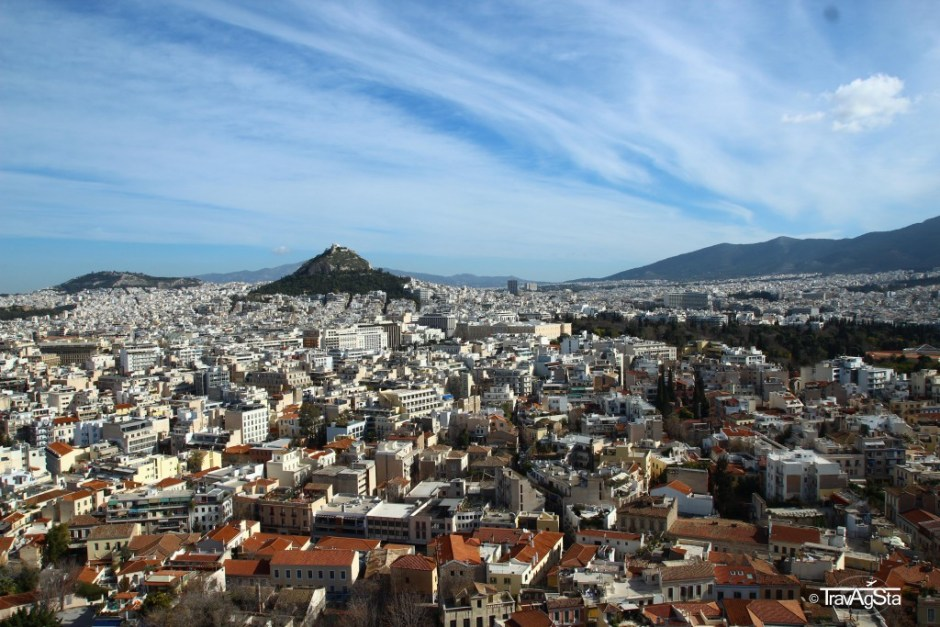 View to Lykabettus from Acropolis, Athens, Greece