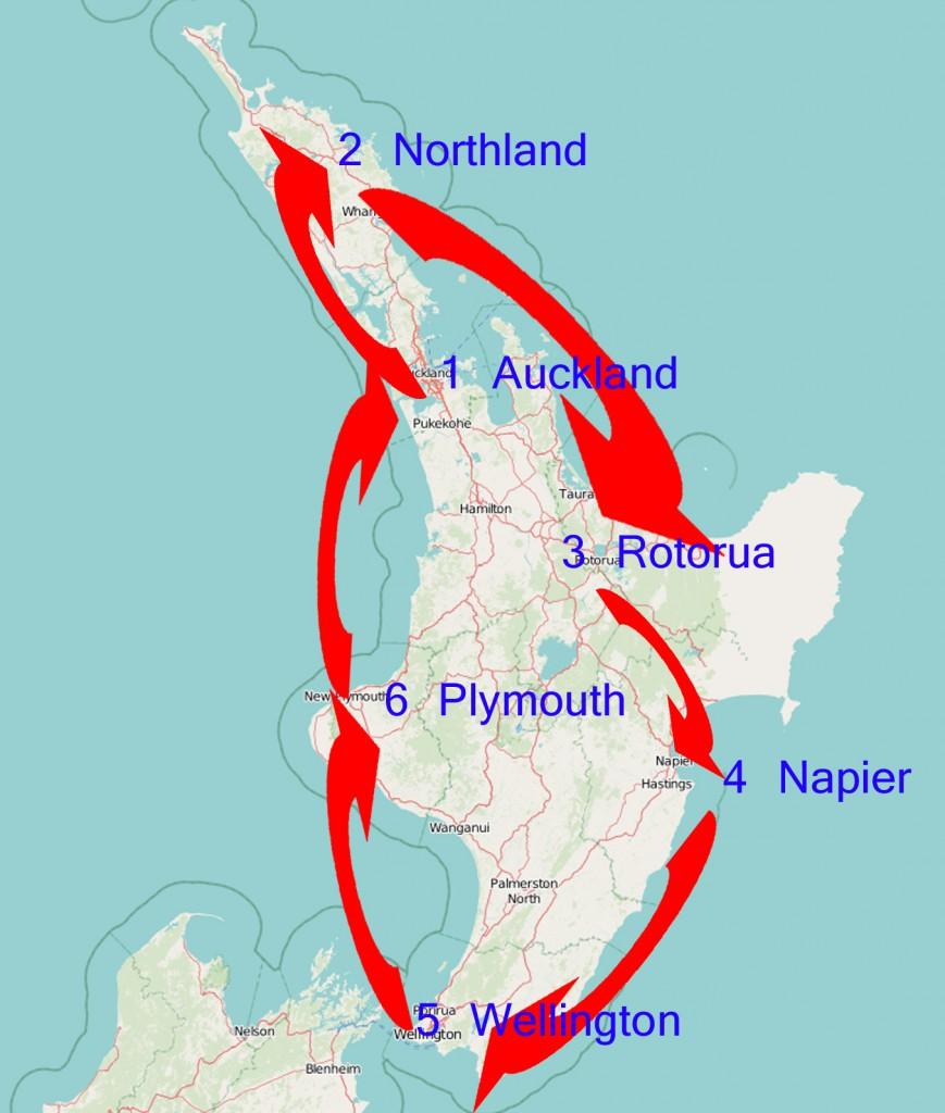 Neuseeland Südinsel Route