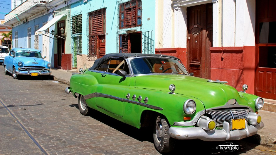 Two especially beautiful vintage cars in Trinidad, Cuba