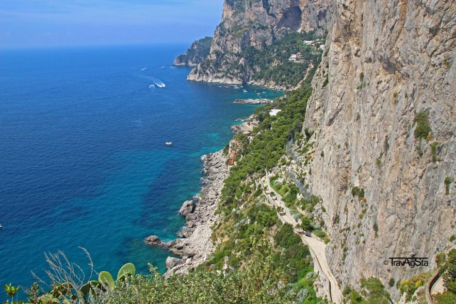 Via Krupp seen from Augustus Gardens, Capri, Italy