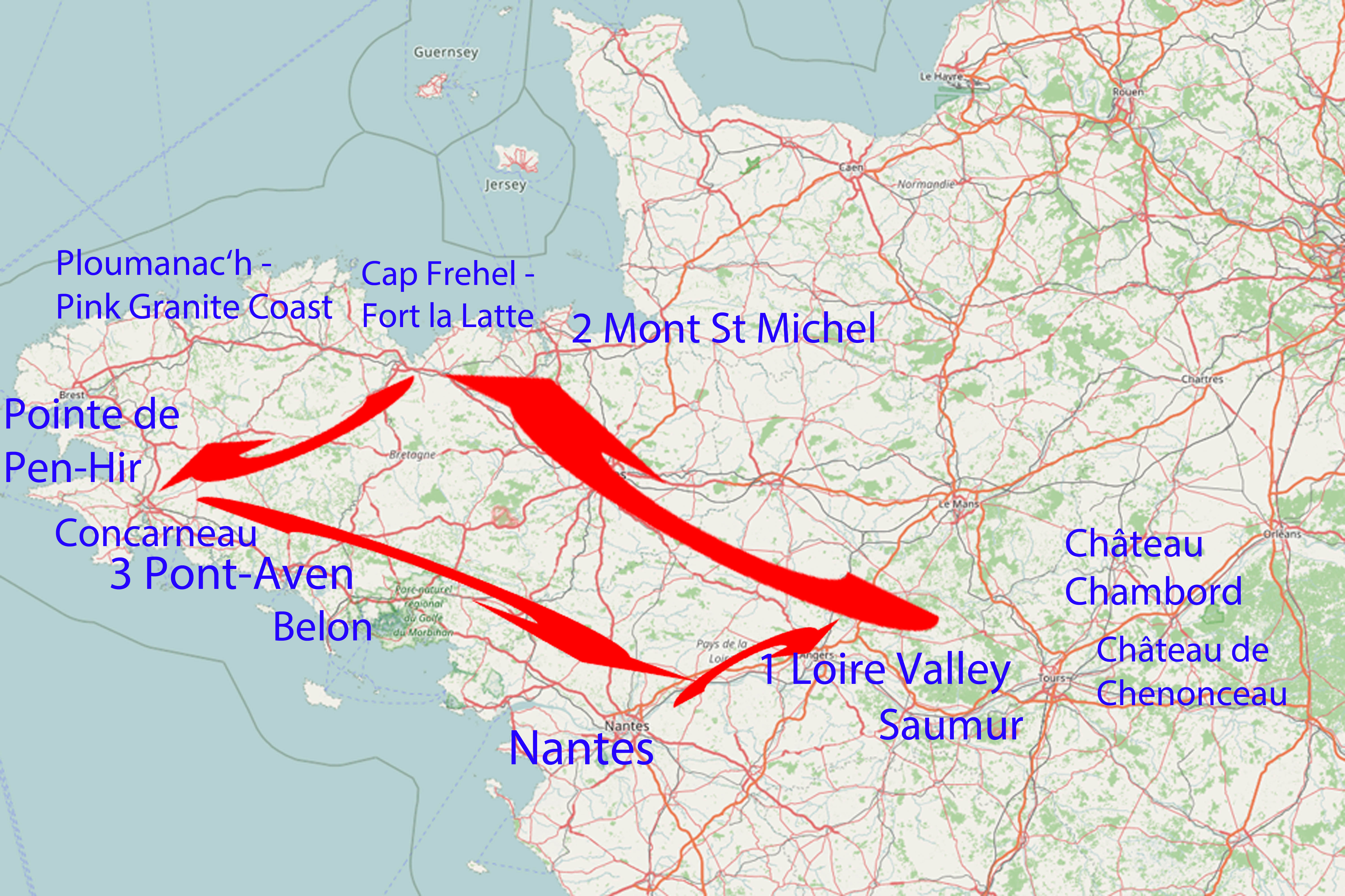 Itinerary for one week in the northwest of France – Brittany and the Loire Valley