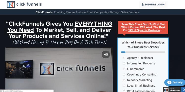vendre formation en ligne avec clickfunnel