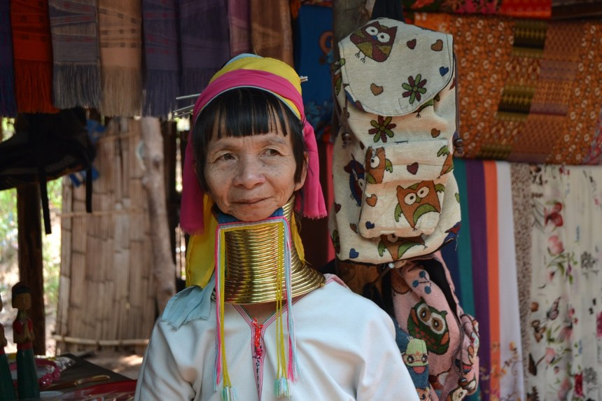 Woman from long neck Padaung tribe Myanmar