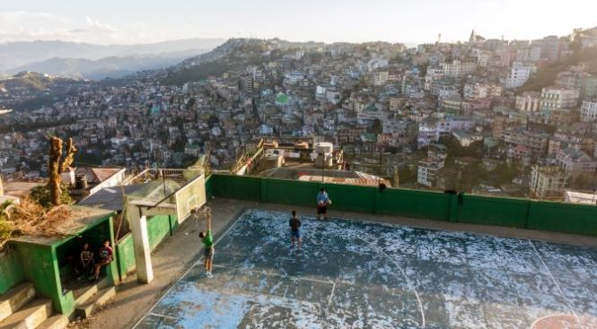 A basketball court in the city of Aizawl