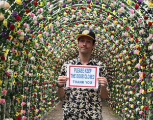 Mateo under floral gate