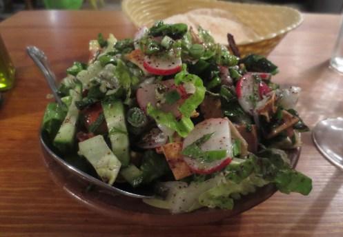 Fattoush at Yalla Yalla restaurant