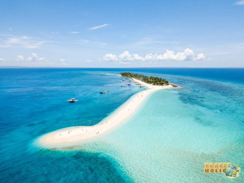 Vue aérienne de l'île de Kalanggaman aux Philippines
