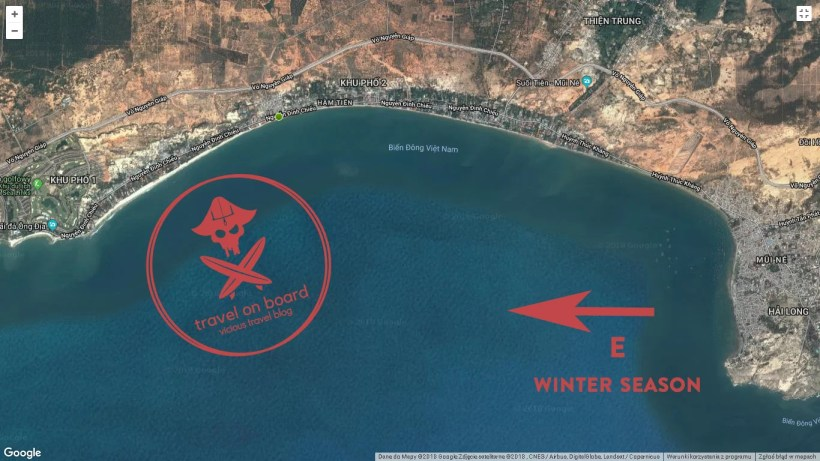map showing the kitesurfing spot in Mui Ne, Vietnam with its predominant wind direction