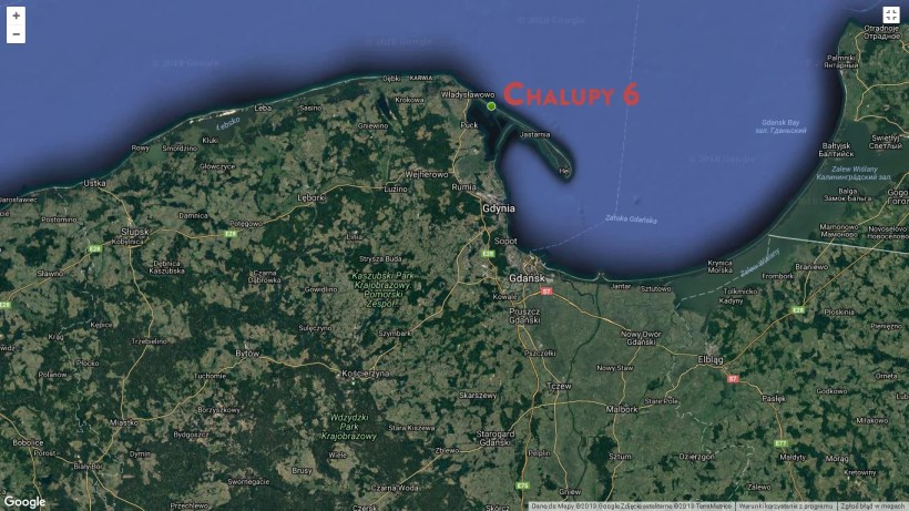 maps showing location of chalupy 6 camping on hel peninsula the best kitesurfing spot in Poland