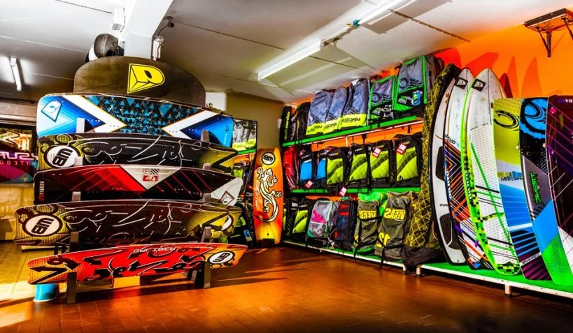 shop packed with kitesurfing equipment