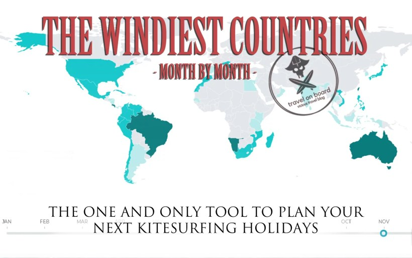 map with the windiest kitesurfing destinations month by month