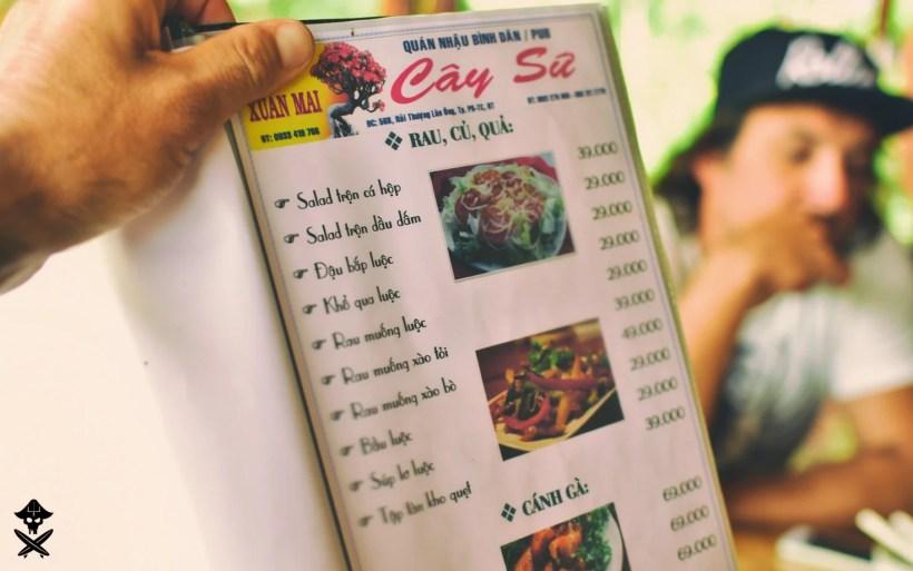 menu written in vietnamese