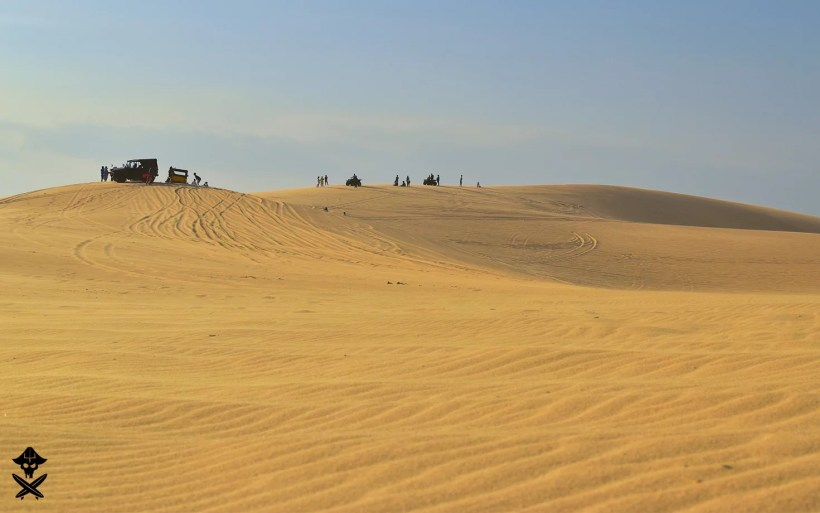 view at the sand dunes close to mui ne vietnam very polluted with tourists