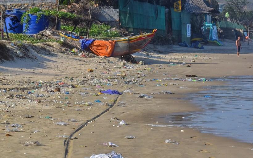 Malibe beach kite spot in Mui Ne Vietnam covered with plastic polution