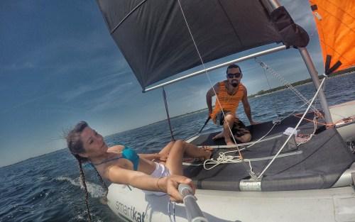 happy couple sailing a smartkat