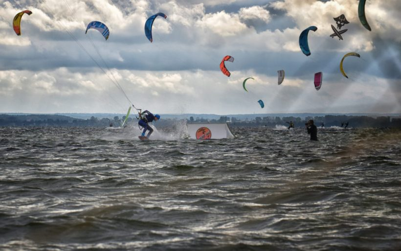 kite park kicker landing 360 kiteboarding competition on hel peninsula poland flyn