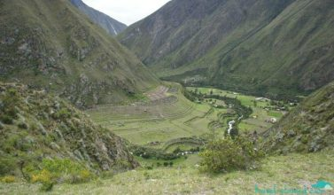 Incan farming terraces in the distance