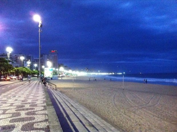 Copacabana's Famous Boardwalk at Night