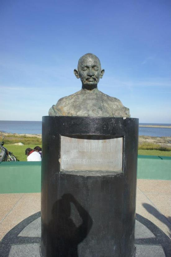 Ghandi watches over the boardwalk in Montevideo
