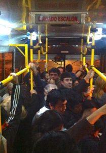 Crammed onto a bus like sardines