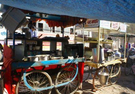 A roadside street stall in India