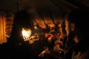 Campfire dinner inside Barta