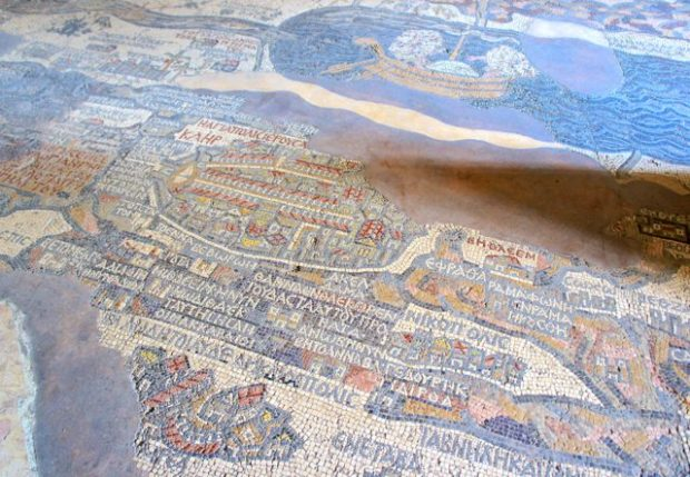 The oldest surviving map of the Holy Land, the Madaba Map, 6th Century AD