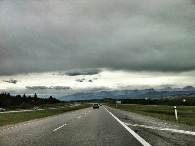 Epic skies on the way to Banff
