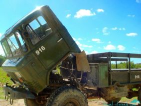 Abandoned army trucks