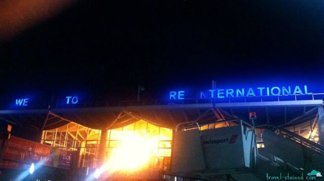 Welcome to... ? Dar es Salaam's Airport greeting.