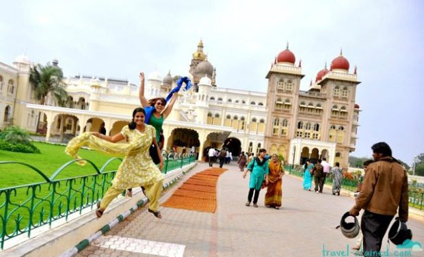 Expressing ourselves outside Mysore Palace