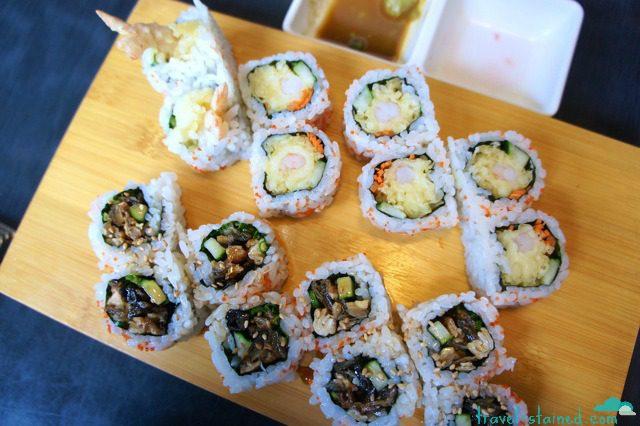 Tempura roll and salmon skin roll
