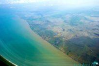 Beautiful Indonesian coastline from the plane