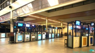 Kiosks for all the resort islands at the airport