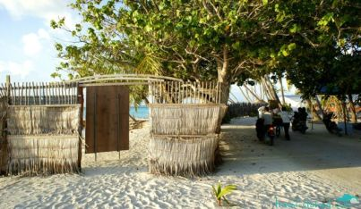 Behind this simple fence is the bikini beach Maafushi