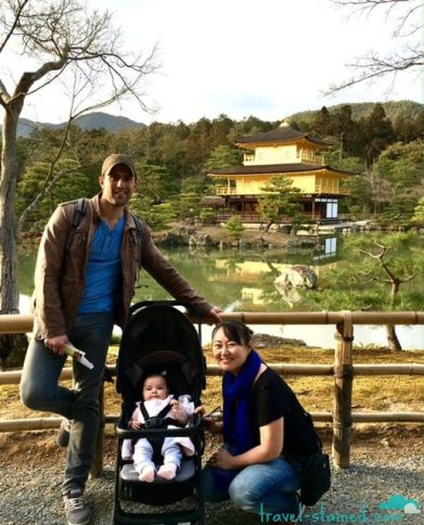 A family photo in front of Kinkakuji