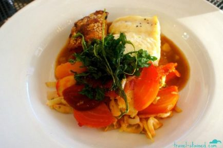 Pork belly and halibut with root veggies