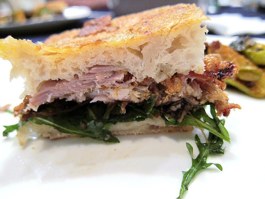 porchetta di ariccia in a panino