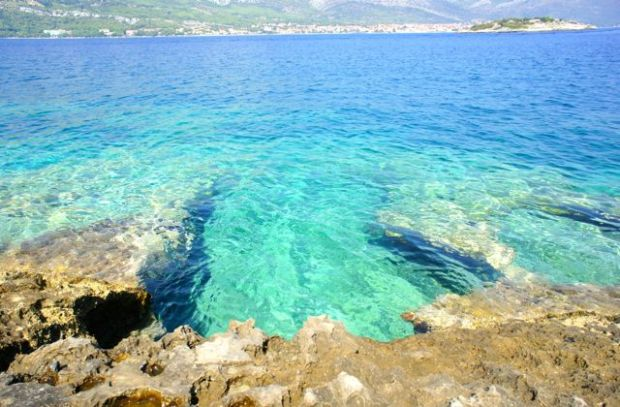 crystal clear water on badija island