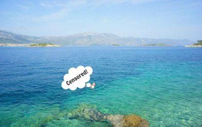 swimming nude on Badija, Croatia