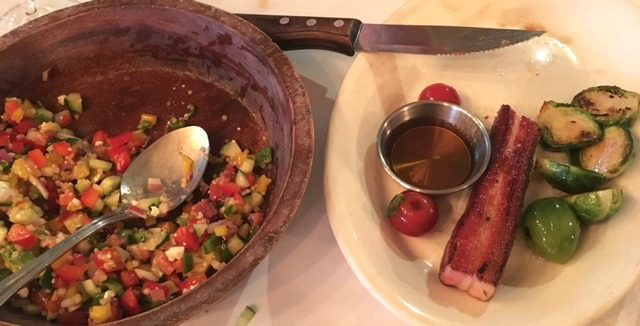 Chop salad and bacon plate