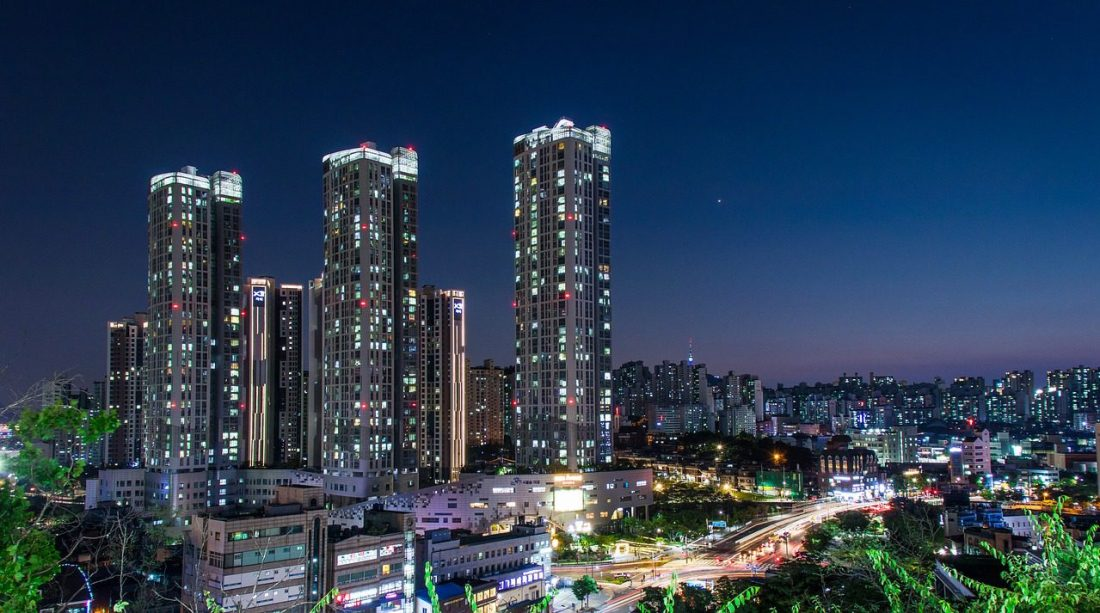 seoul at night - skyscrapers lit up