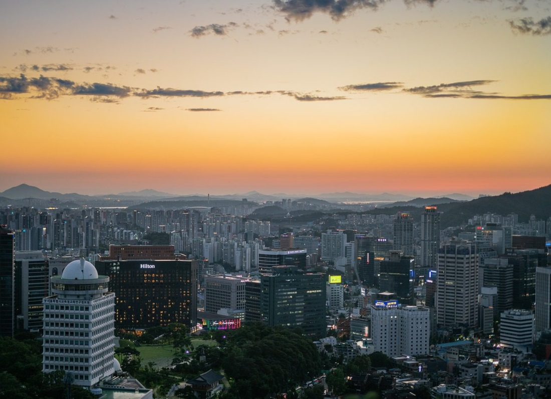seoul korea cityscape at sunset