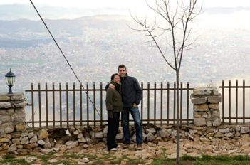 a couple standing on Mount Dajti in Tirana