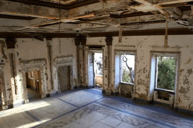 interiour of the abandoned and looted villa zog, durres
