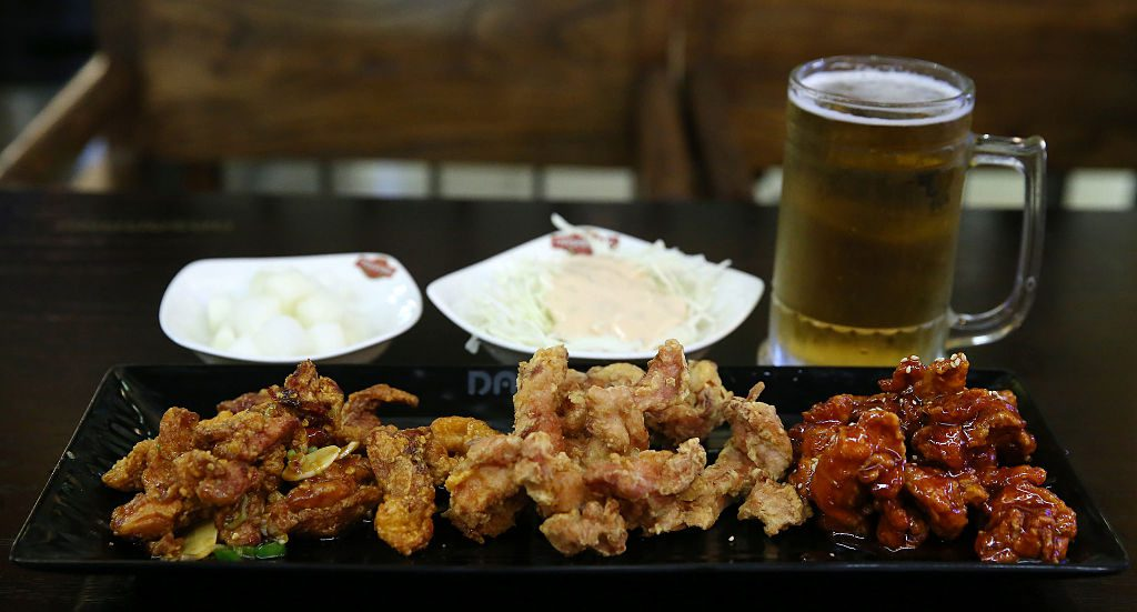 korean fried chicken and beer