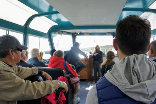 people on a Maligne Lake Cruise