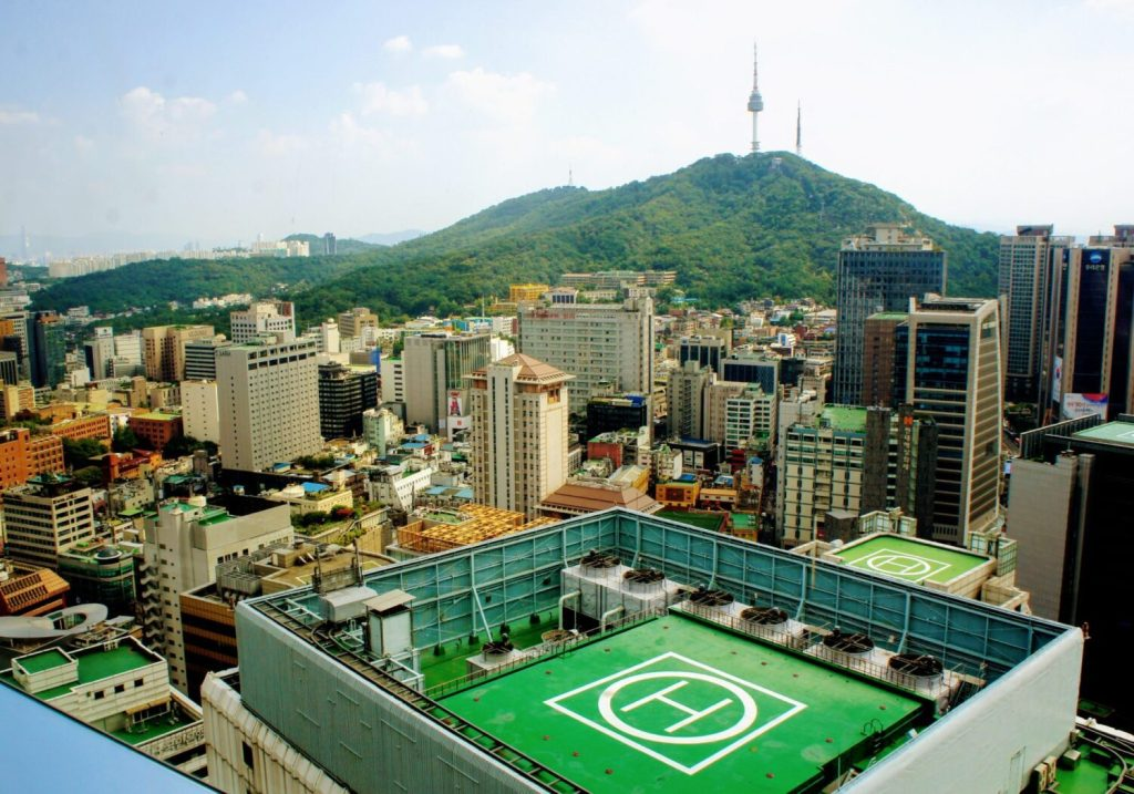 views from lotte hotel in myeongdong seoul